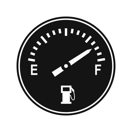 fuel gauge: Fuel gauge black simple icon isolated on white background Illustration