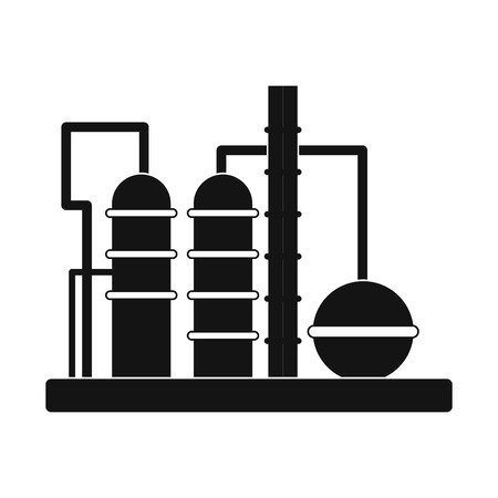 industry icons: Oil refinery black simple icon isolated on white background Illustration