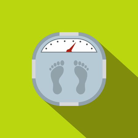 weighing scale: Weight scale flat icon on a green background