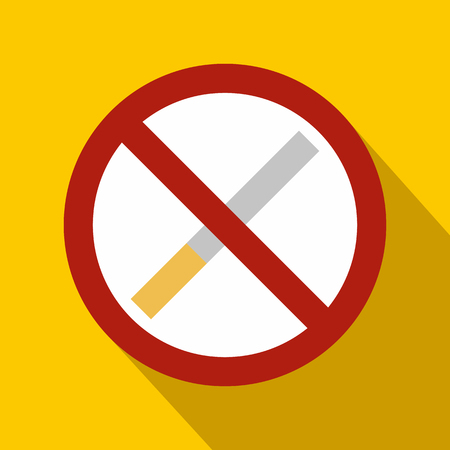 smokes: No smoking sign flat icon on a yellow background Illustration