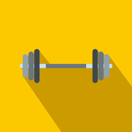 barbell: Barbell flat icon on a yellow background