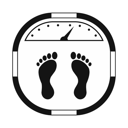 bathroom weight scale: Weight scale black simple icon isolated on white background