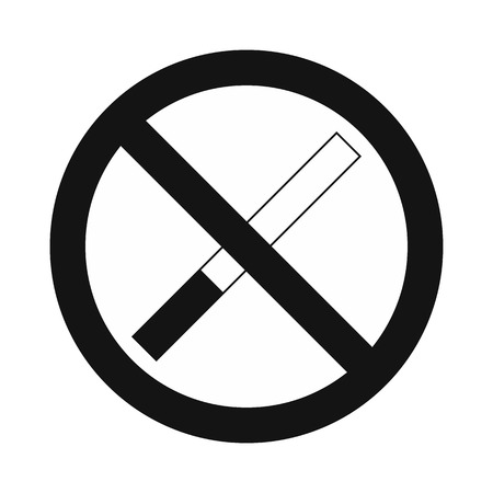 pernicious habit: No smoking sign black simple icon isolated on white background