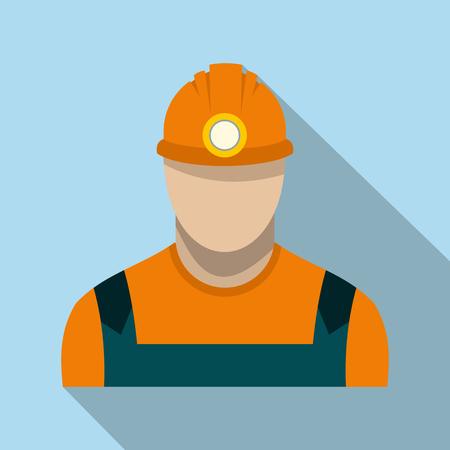 coal miner: Coal miner flat icon on a light blue background Illustration