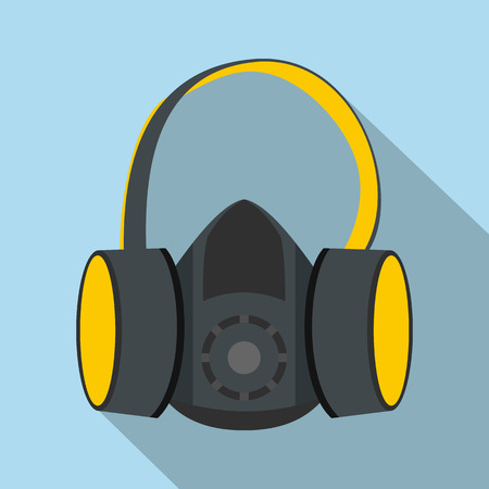 ear muffs: Protective ear muffs and respirator flat icon on a light blue background