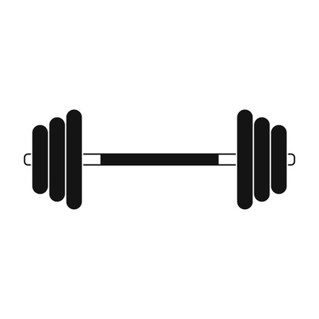 barbell: Barbell black simple icon isolated on white background Illustration