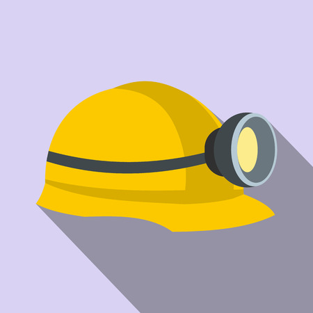 construction helmet: Miners helmet with lamp flat icon on a lilac background Illustration
