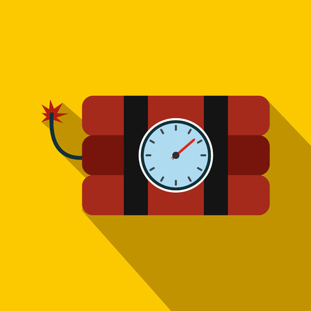 Bomb with clock timer flat icon on a yellow background