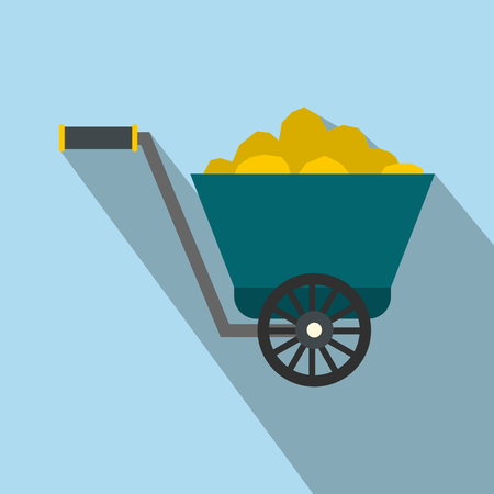 gold rush: Trolley with gold ore flat icon on a light blue background