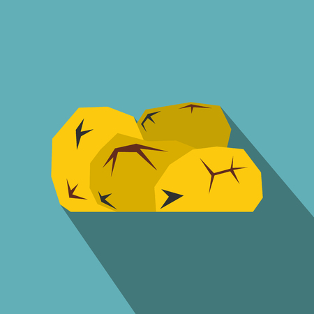gold rush: Gold nuggets flat icon on a blue background Illustration