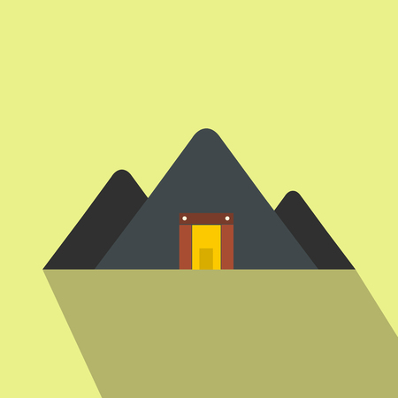 mine site: Mountain mine flat icon on a yellow background
