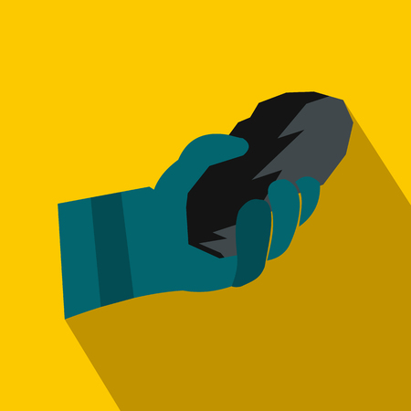 residue: Hand holding a bunch of coal flat icon on a yellow background Illustration