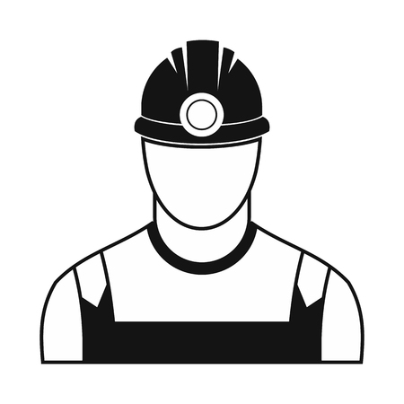 coal miner: Coal miner black simple icon isolated on white background