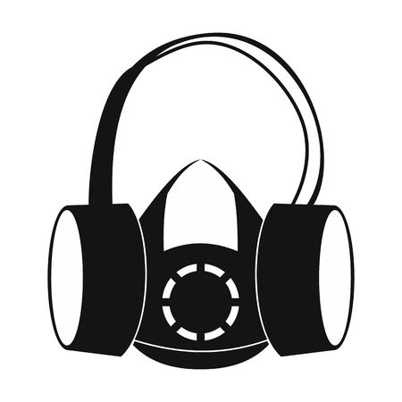 ear muffs: Protective ear muffs and respirator black simple icon