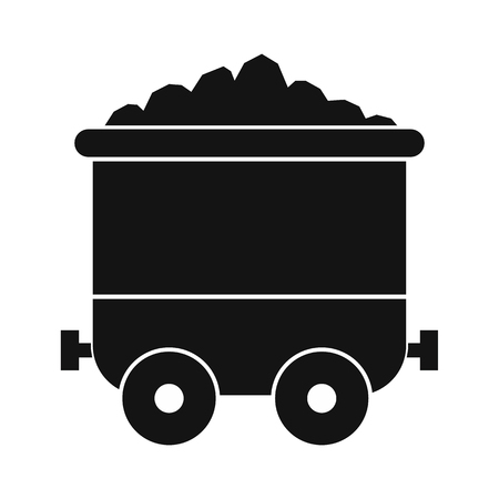 nonrenewable: Coal trolley black simple icon isolated on white background