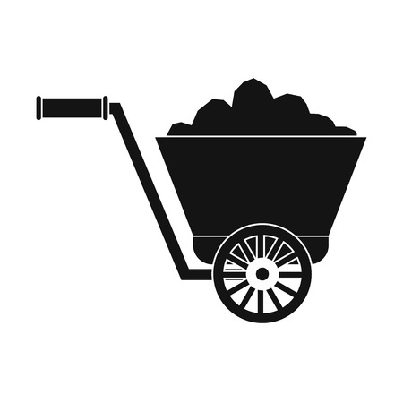 ore: Trolley with ore black simple icon isolated on white background