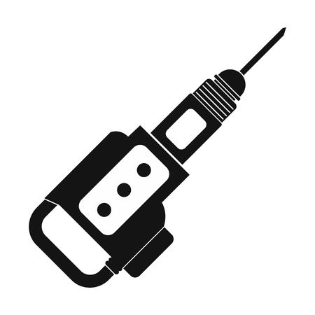 jackhammer: Electric jackhammer black simple icon isolated on white background