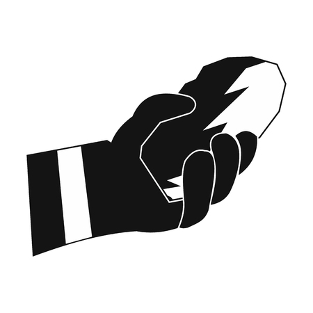 residue: Hand holding a bunch of coal black simple icon