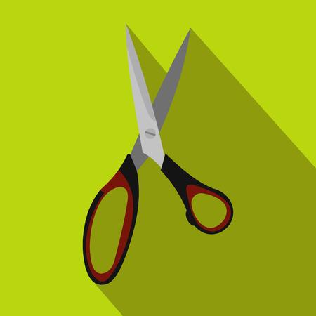 shear: Dressmake shear flat icon on a green background