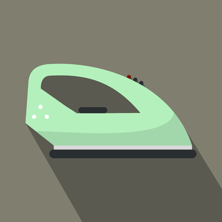 flat iron: Green iron flat icon on a grey background