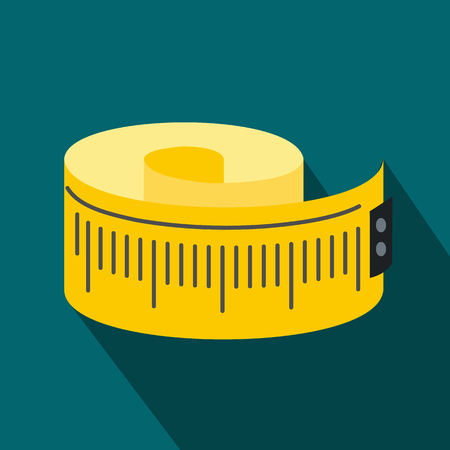 measuring: Measuring tape flat icon on a blue background
