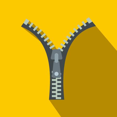 unzip: Zipper flat icon on a yellow background Illustration