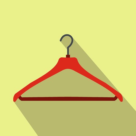 coat hanger: Red coat hanger flat icon on a yellow background