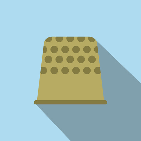 thimble: Thimble flat icon on a light blue background