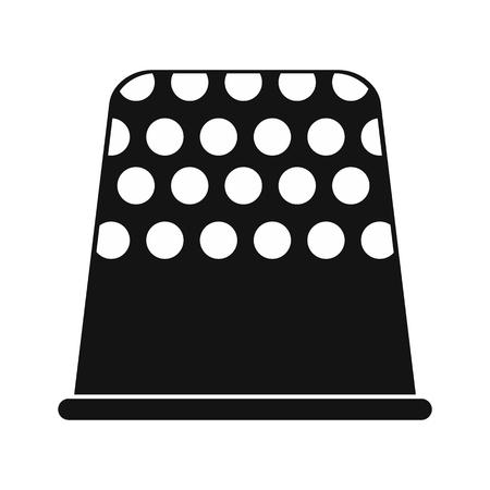 thimble: Thimble black simple icon isolated on white background