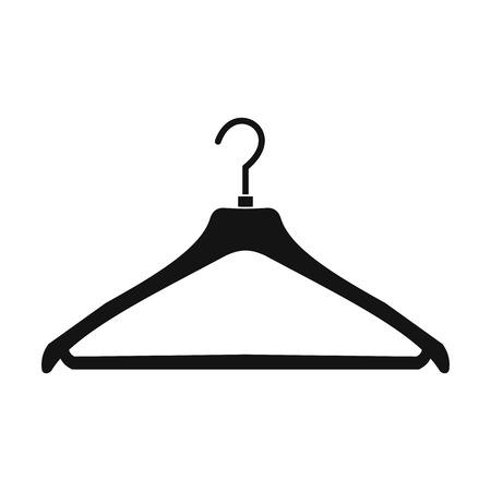 Kleerhanger zwarte eenvoudige pictogram op een witte achtergrond