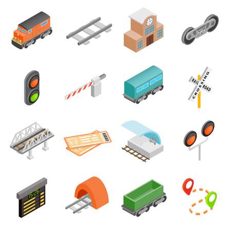 freight transportation: Railroad isometric 3d icons set isolated on white background Illustration