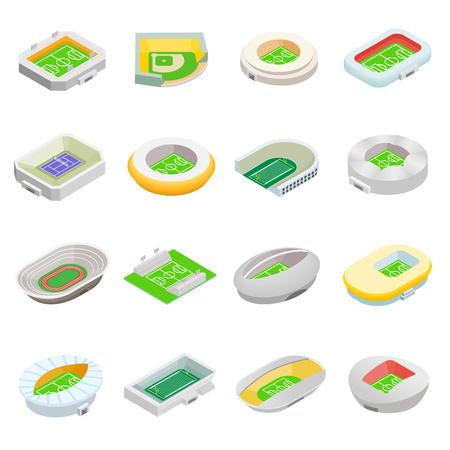ballpark: Stadium isometric 3d icons set isolated on white background
