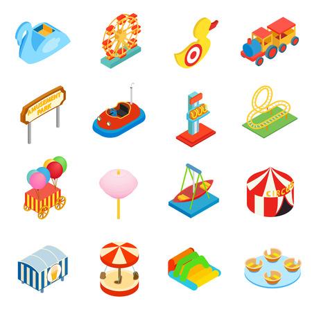 3d icons: Amusement park isometric 3d icons set isolated on white background Illustration