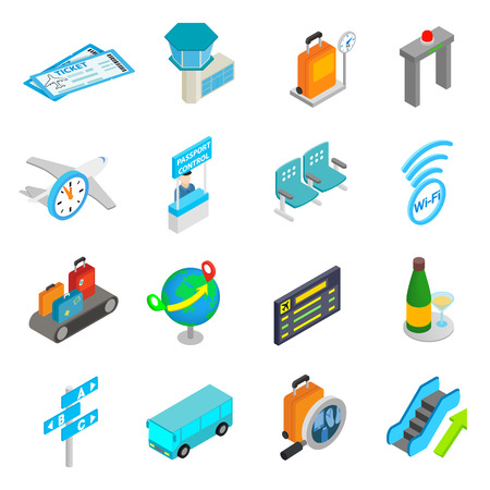 3d icons: Airport isometric 3d icons set isolated on white background