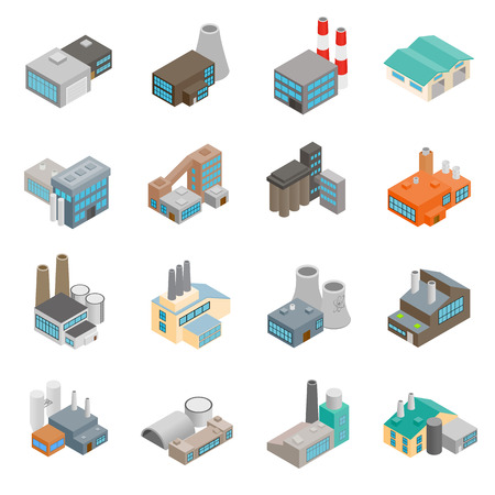 Industriegebäude Fabrik und Kraftwerke isometrischen 3D-Icons Set
