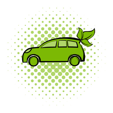 fuel and power generation: Eco car comics icon. Ecology symbol on a white background Illustration