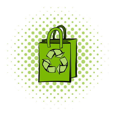recycle icon: Green paper bag with recycle symbol. Comics icon on a white background