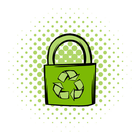 burlap sack: Green eco bag comics icon. Bag with recycling symbol on a white background Illustration