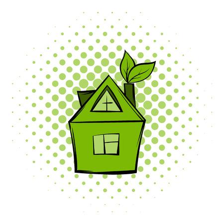 Eco house comics icon. Modern green ecology symbol on a white background