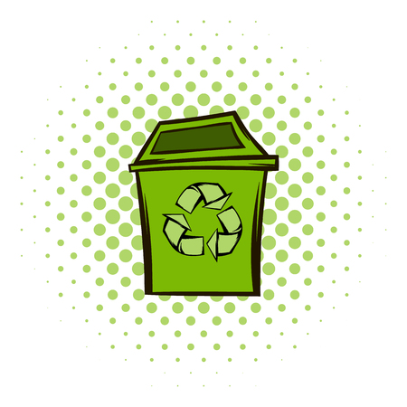 pointed arrows: Trash can recycling eco symbol. Modern green ecology symbol on a white background