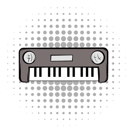 synthesizer: Synthesizer grey comics icon. Musical equipment on a white background