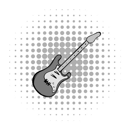 strumming: Electric guitar comics icon. Musical equipment on a white background