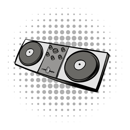 mixing console: Mixing console black comics icon. Musical modern instrument on a white background Illustration