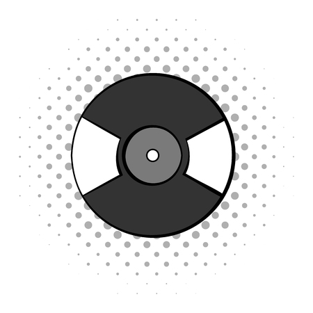 lp: Gramophone vinyl LP record. Greiy comics icon isolated on white background
