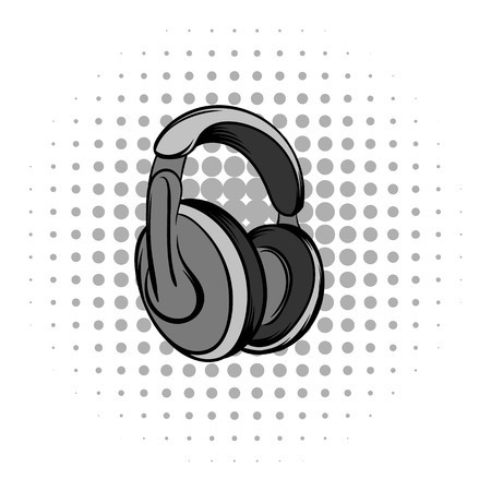 headphones: Big headphones grey comics icon. Musical equipment on a white background Illustration