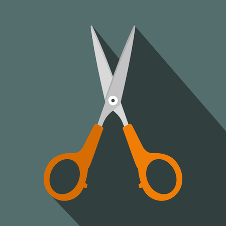 scissors hair: Scissors flat icon with shadow on the background