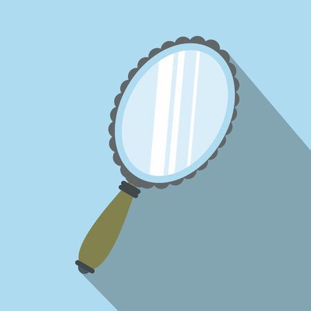 mirror?: Espejo icono plana con sombra en el fondo