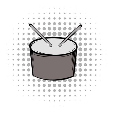 tambor: Tambor gris cómics icono negro. Equipo musical sobre un fondo blanco