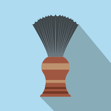 shaving brush: Shaving brush flat icon with shadow on the background