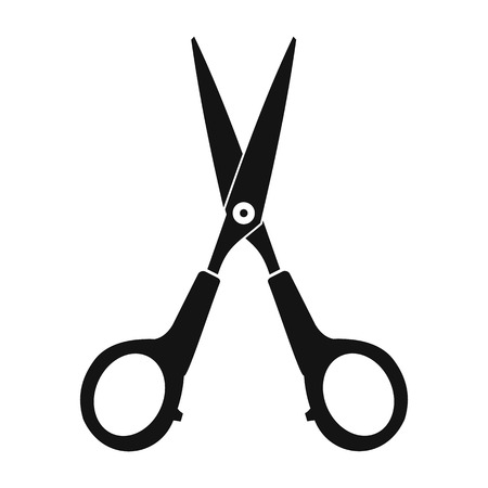 scissors cutting paper: Scissors black simple icon isolated on white background Illustration